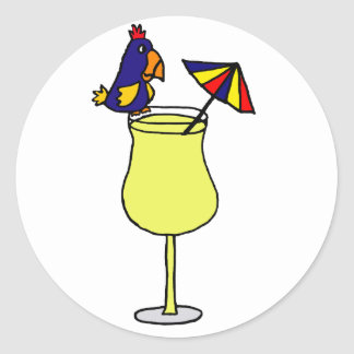 Parrot Sitting on Pina Colada Glass Art Classic Round Sticker