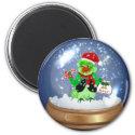 Parrot snow globe magnet