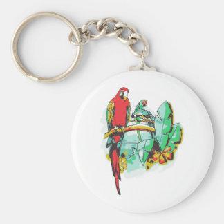 Parrot Trio Basic Round Button Keychain