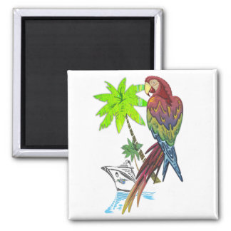 Parrot Tropical Cruise 2 Inch Square Magnet