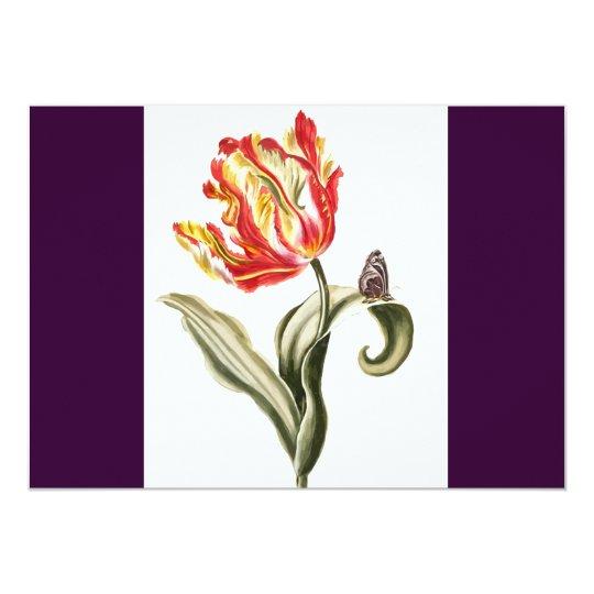 Parrot Tulip Flower Butterfly Watercolor Card