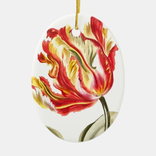 Parrot Tulip Flower Butterfly Watercolor Ceramic Ornament