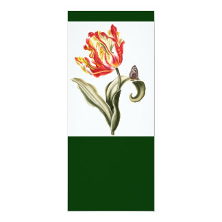 """Parrot Tulip Flower Butterfly Watercolor 4"""" X 9.25"""" Invitation Card"""