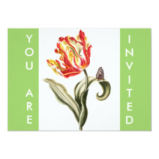 """Parrot Tulip Flower Butterfly Watercolor 5"""" X 7"""" Invitation Card"""