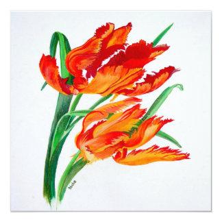 "Parrot Tulip (Square) 5.25"" Square Invitation Card"