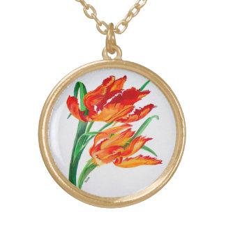 Parrot Tulip (Square) Round Pendant Necklace