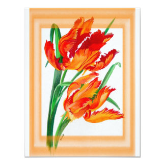 """Parrot Tulip with Border 4.25"""" X 5.5"""" Invitation Card"""