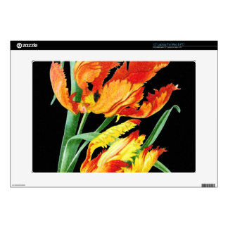 Parrot Tulips On Black Laptop Decals