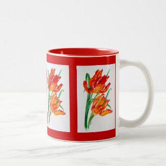 Parrot Tulips Two-Tone Coffee Mug