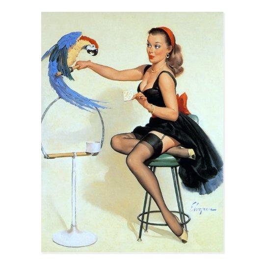 Parrot Vintage Pin Up Postcard