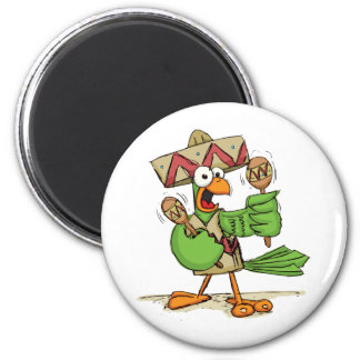 Parrot with Maracas 2 Inch Round Magnet