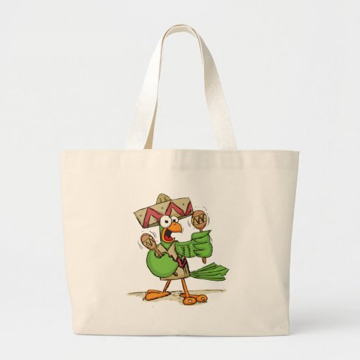 Parrot with Maracas Canvas Bags