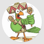 Parrot with Maracas Round Stickers