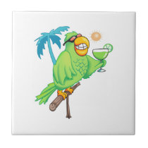 PARROT WITH MARGARITA CERAMIC TILE