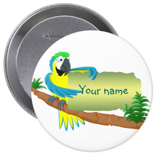 Parrot with sign for name/text 4 inch round button