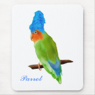 Parrot witha blue wig mousepad