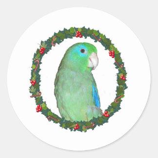Parrotlet Christmas wreath Round Sticker