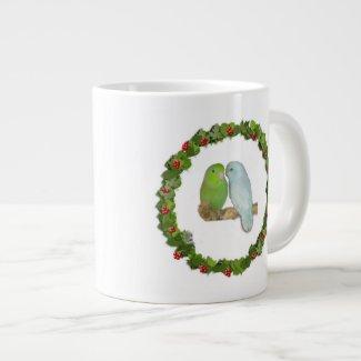 Parrotlet Christmas Wreath 20 Oz Large Ceramic Coffee Mug