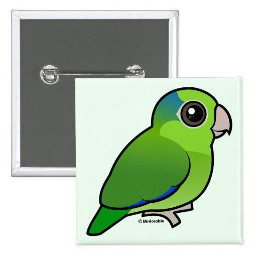 Parrotlet pacífico verde pin cuadrada 5 cm
