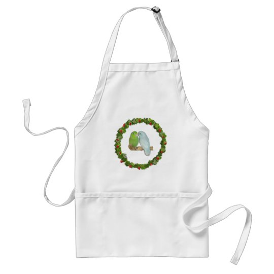 Parrotlet Pair Christmas Wreath Adult Apron
