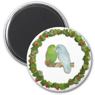 Parrotlet Pair Christmas Wreath Refrigerator Magnet
