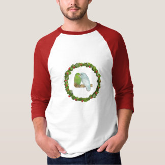 Parrotlet Pair Christmas Wreath T-Shirt