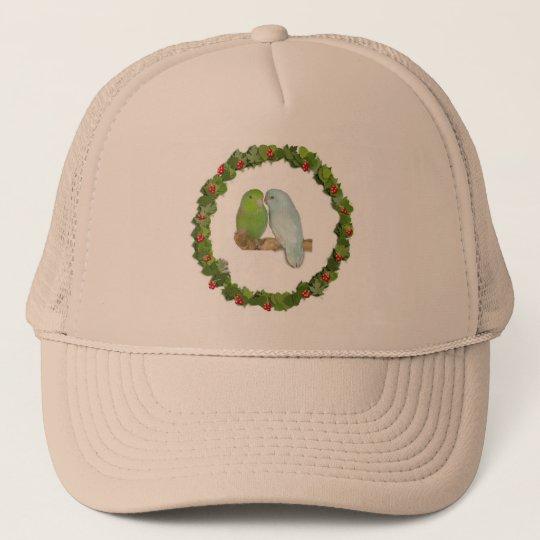 Parrotlet Pair Christmas Wreath Trucker Hat
