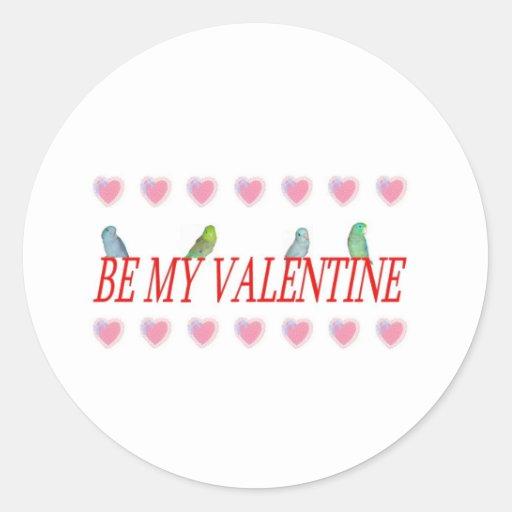 Parrotlets de la tarjeta del día de San Valentín Etiqueta Redonda