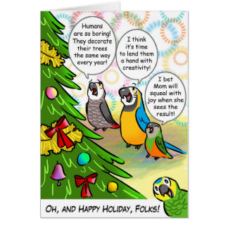 Parrots and Christmas tree Card