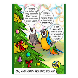 Parrots and Christmas tree Postcard