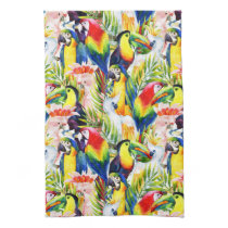 Parrots And Palm Leaves Hand Towel