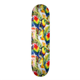 Parrots And Palm Leaves Skateboard Deck