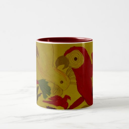 Parrots and Toucans Two-Tone Coffee Mug
