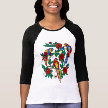 PARROTS BUTTERFLIES AND ROSES TATTOO PRINT T-Shirt