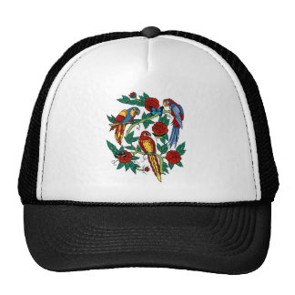 PARROTS BUTTERFLIES AND ROSES TATTOO PRINT TRUCKER HAT