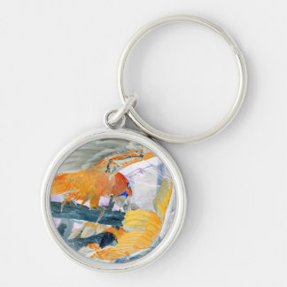 Parrots fighting inverted to orange and white Silver-Colored round keychain