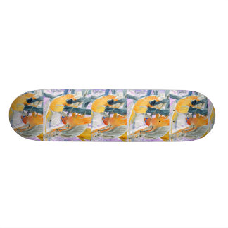 Parrots fighting inverted to orange and white skateboard deck
