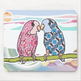 Parrots In Love Mouse Mat