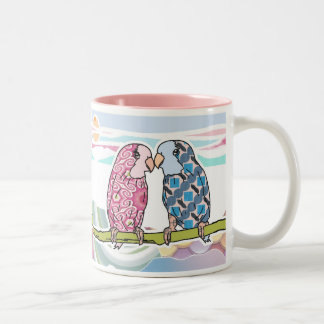 Parrots In Love Two-Tone Coffee Mug