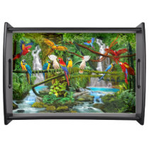 PARROTS IN PARADISE SERVING TRAY