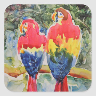 Parrots in the Rain Forest Square Sticker