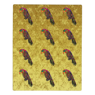 Parrots in yellow red green blue gold foil jigsaw puzzle
