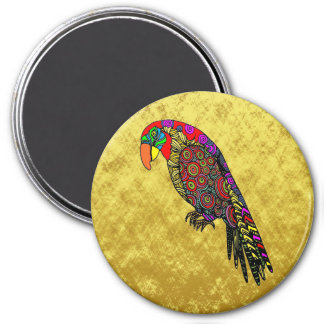Parrots in yellow red green blue magnet