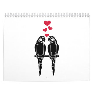 Parrots love red hearts wall calendars