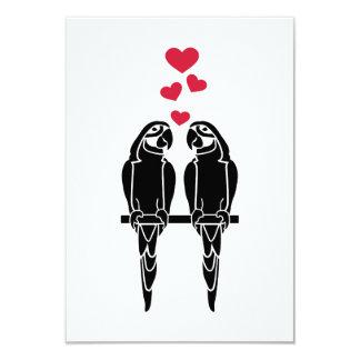 Parrots love red hearts invite