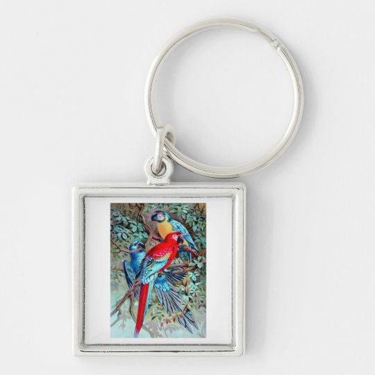 Parrots macaw wild birds colorful painting keychain