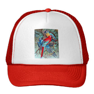 Parrots macaw wild birds colorful painting trucker hat