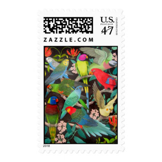 Parrots of Many Colors Postage