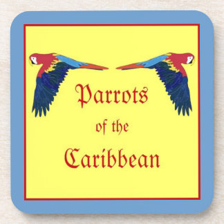 Parrots of the Caribbean Bordered Coaster