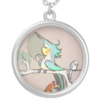 Parrots Round Pendant Necklace